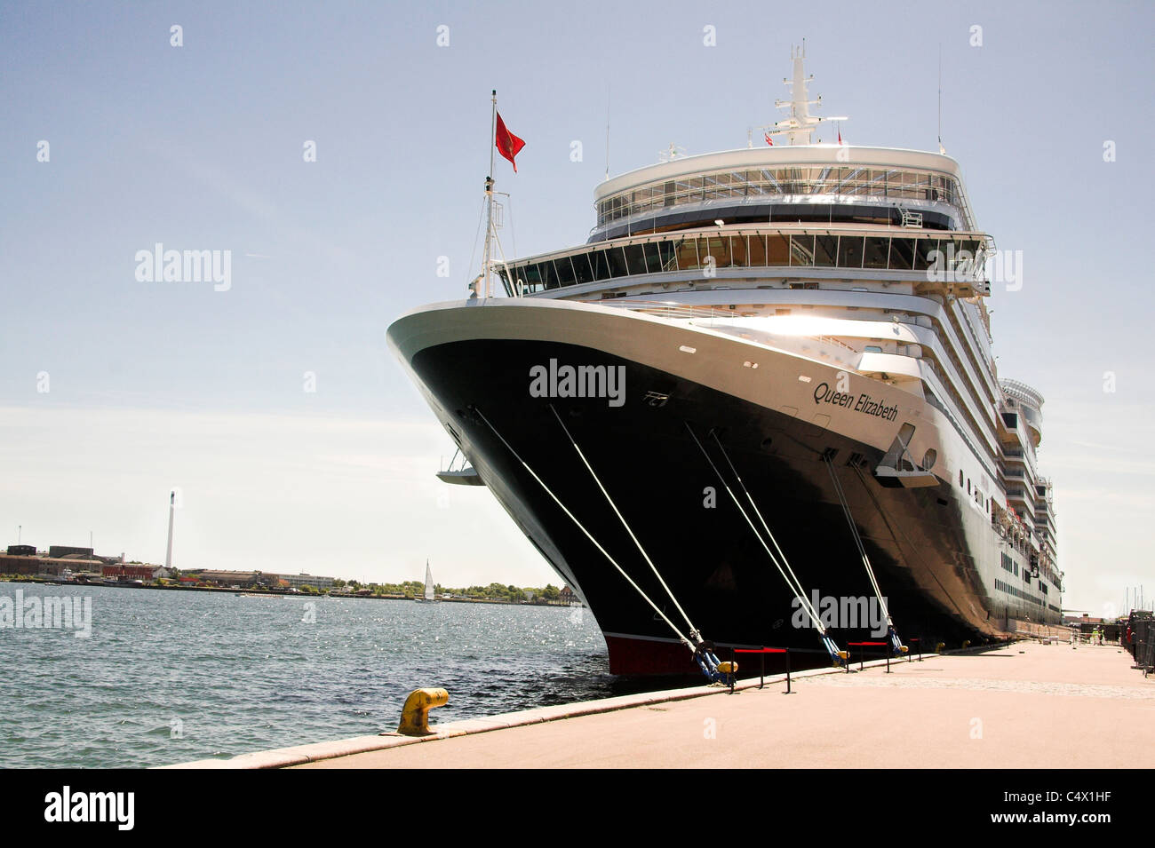 Cruise Ship MS Queen Elizabeth Copenhagen Denmark Stock Photo - Cruise ship copenhagen