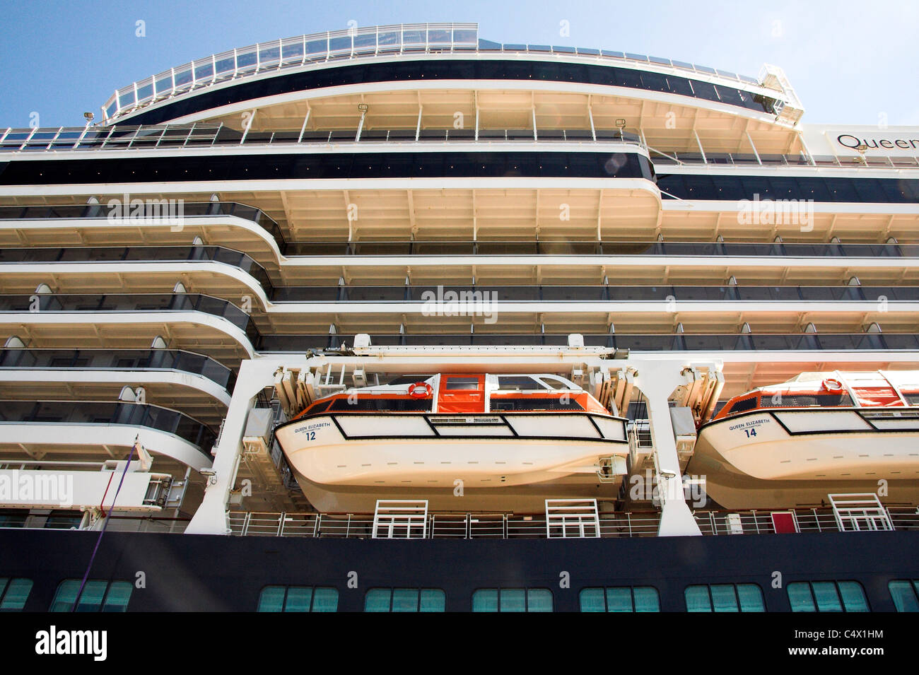 Lifeboats Cruise Ship MS Queen Elizabeth Copenhagen Denmark - Cruise ship copenhagen