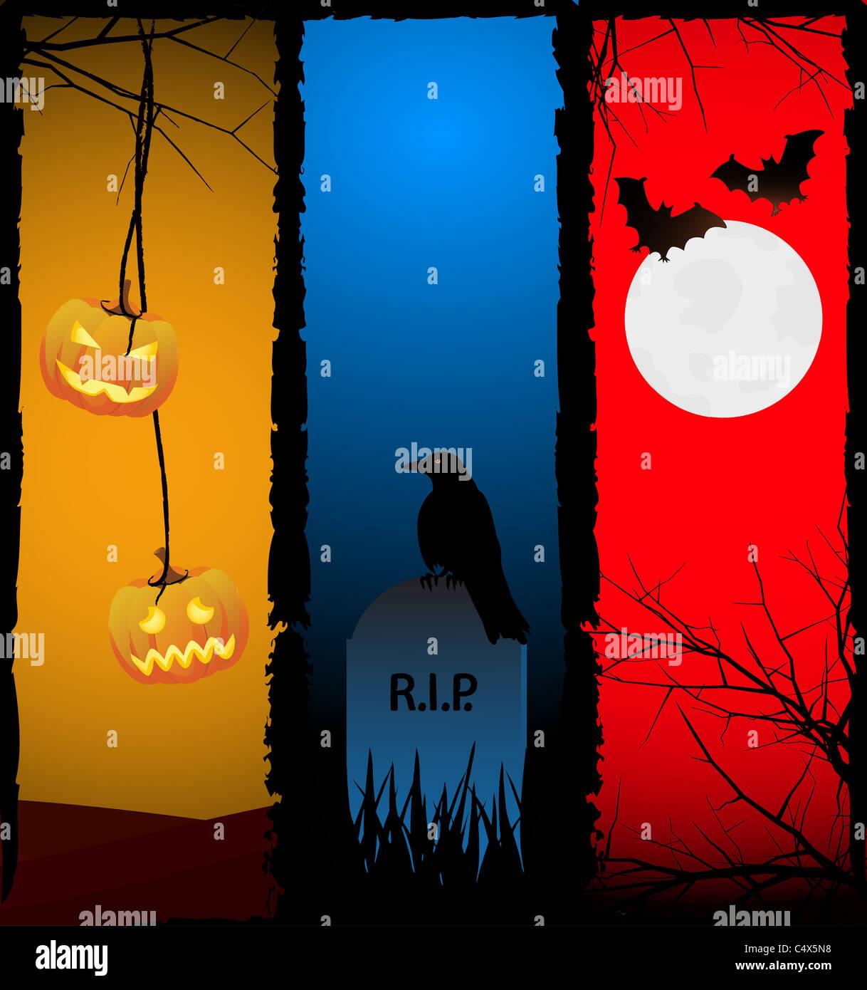 Halloween scenes or banners: versions depicting pumpkins hanging ...