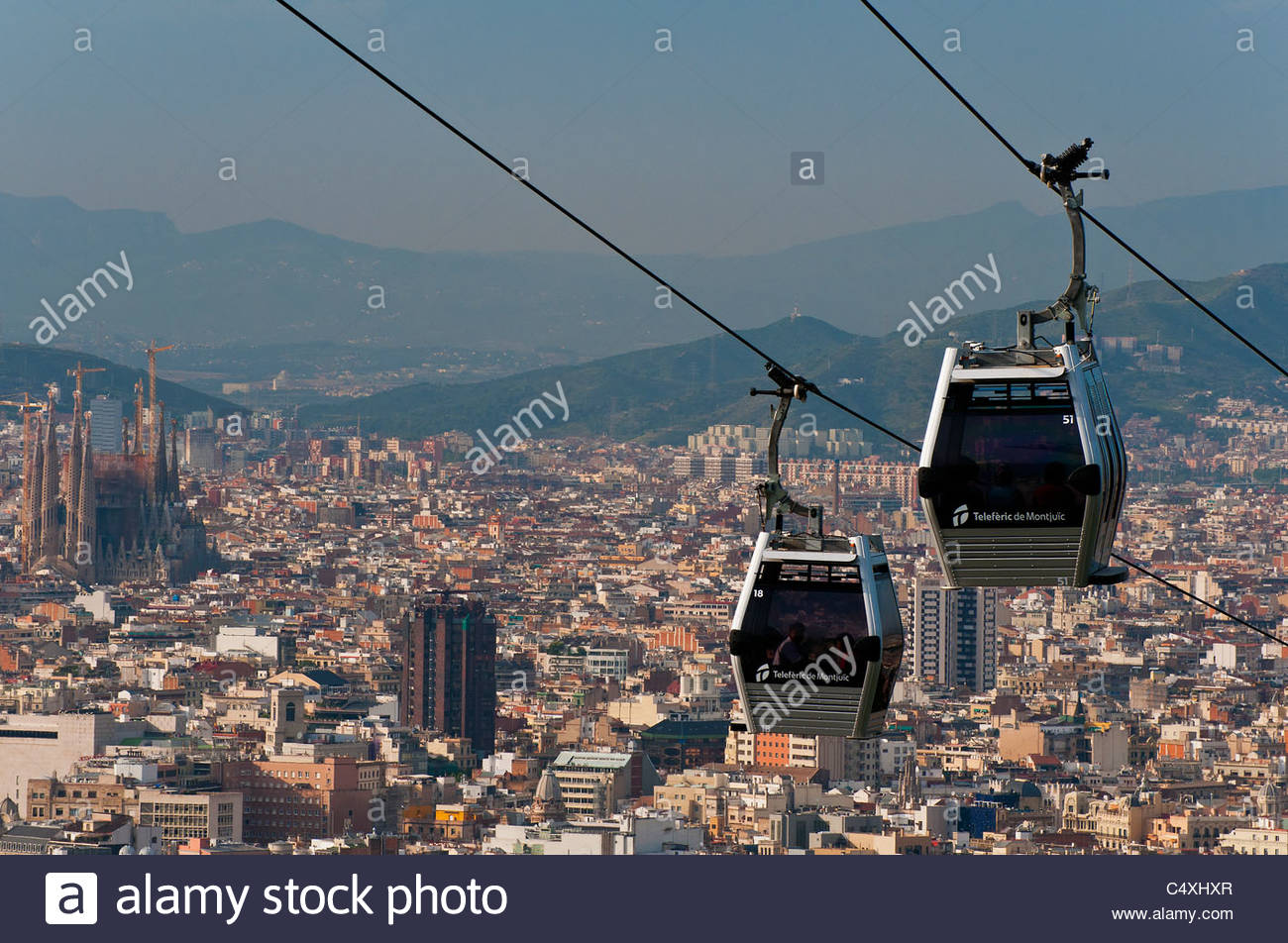 Cable Automotive Oklahoma City : Teleferic de montjuic cable car with city skyline as