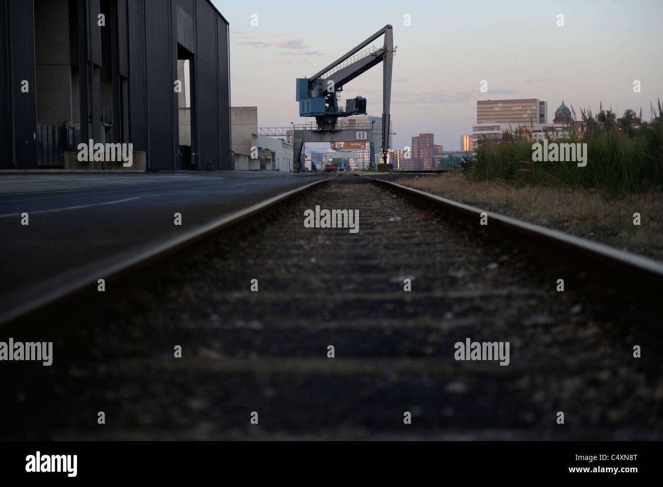 Background image rails - The Crane And Rails In The Background In The Harbour Arera In Duesseldorf Germany
