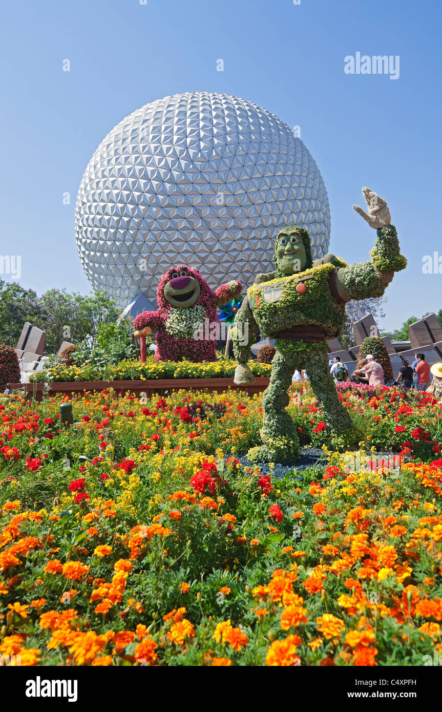 Epcot Center Orlando Florida Buzz Lightyear Topiary And Flower Gardens Near  The Spaceship Earth Geosphere During Flower U0026 Garden