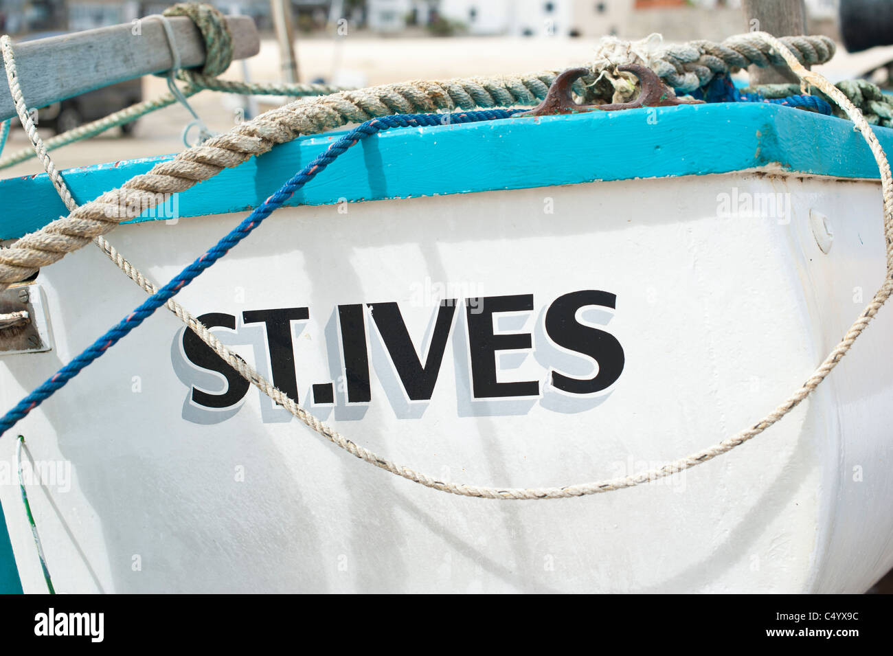 St Ives Cornwall UK Fishing Boat With The Name Of Clearly Showing On Stern