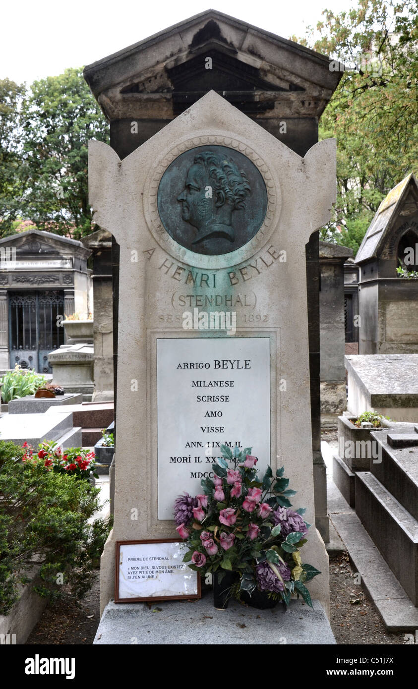 the grave of french writer marie henri beyle better known as stock photo the grave of french writer marie henri beyle better known as stendhal 1783 1842 in montmartre cemetery paris