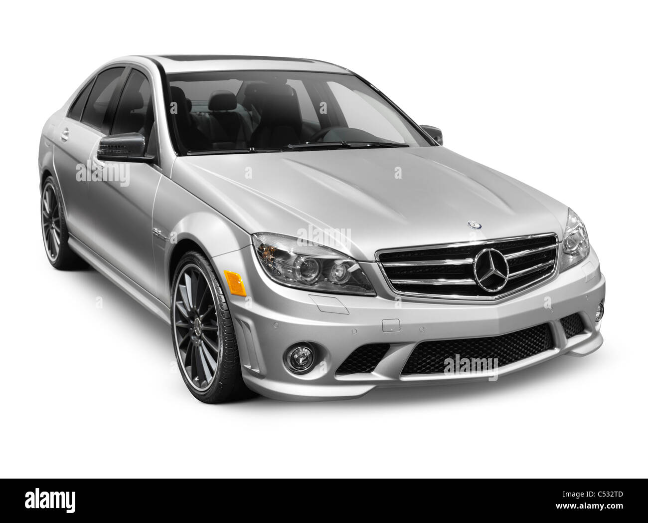 2011 silver mercedes benz c63 amg c class sedan affalterbach edition stock photo royalty free. Black Bedroom Furniture Sets. Home Design Ideas