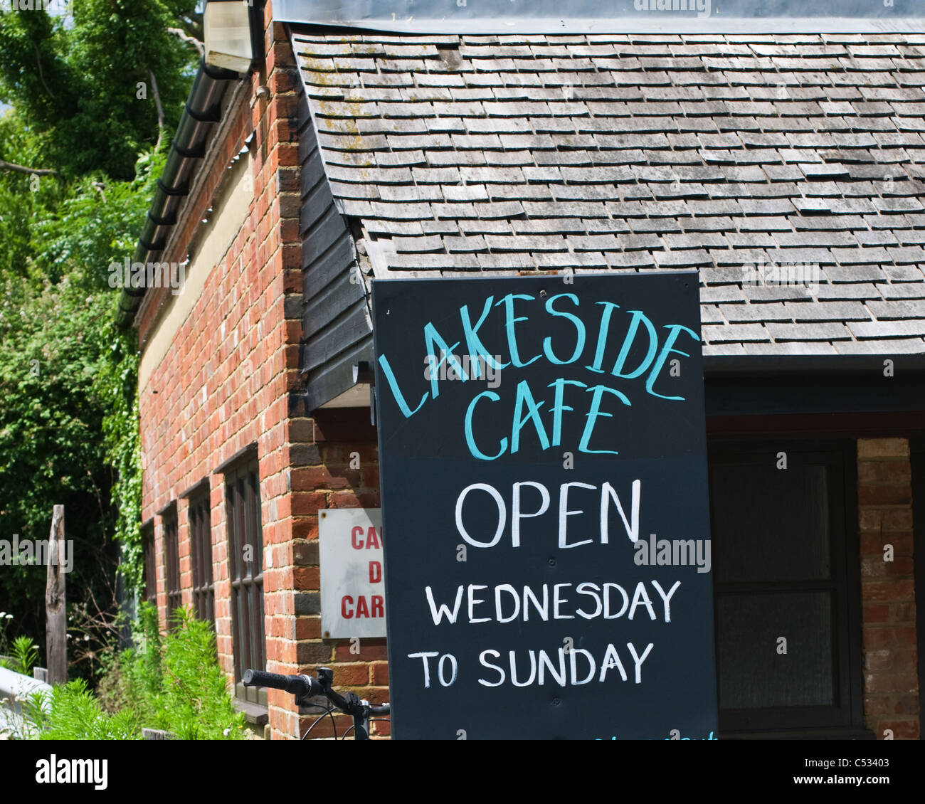 Sign For The Lakeside Cafe, Horam, East Sussex, England