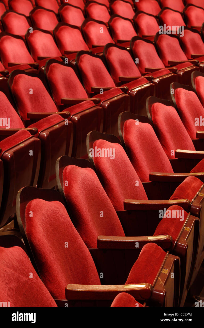 Stock photo dramatic red old fashioned elegant theater stage stock - Rows Of Theater Seats In An Old Vaudeville Style Theater Stock Image