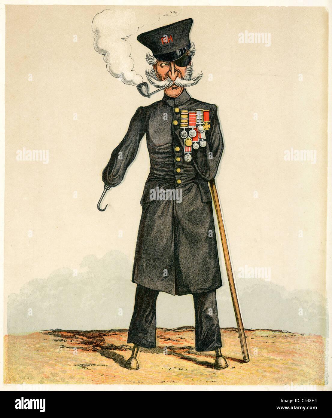 caricature of a british war veteran from the victorian era stock