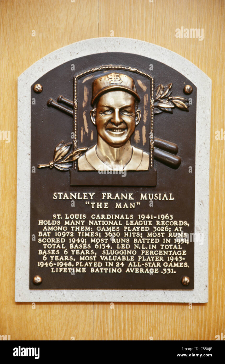National baseball hall of fame stan musial plaque cooperstown ny stock image