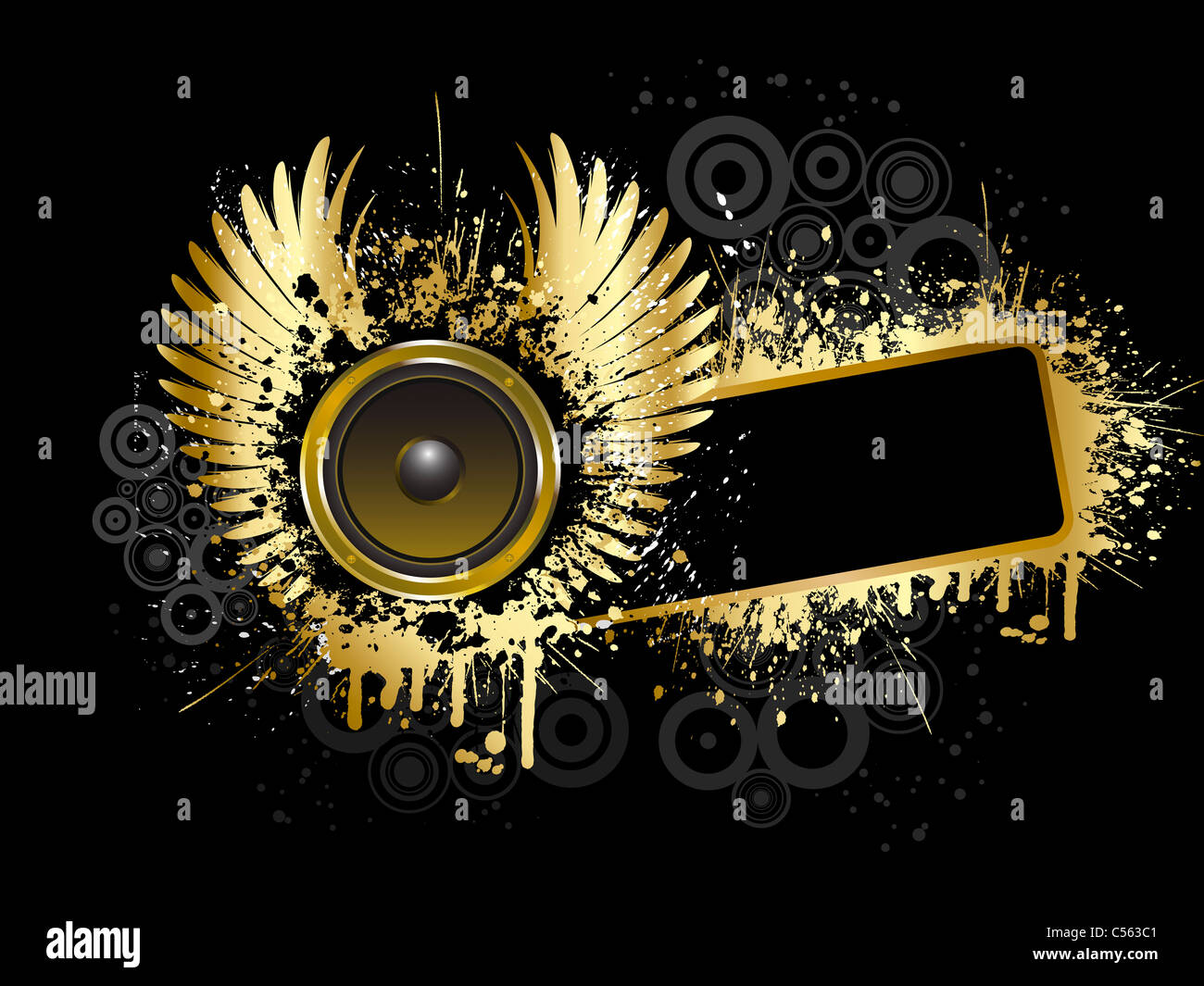 grunge music background in gold and black stock photo