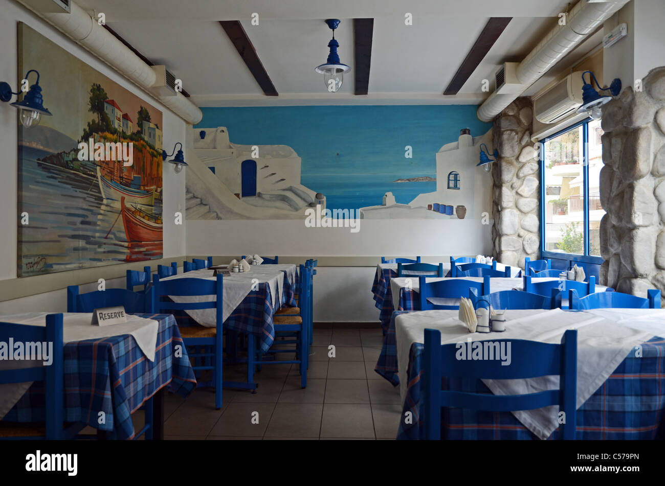 Greek traditional fish taverna with classic blue and white