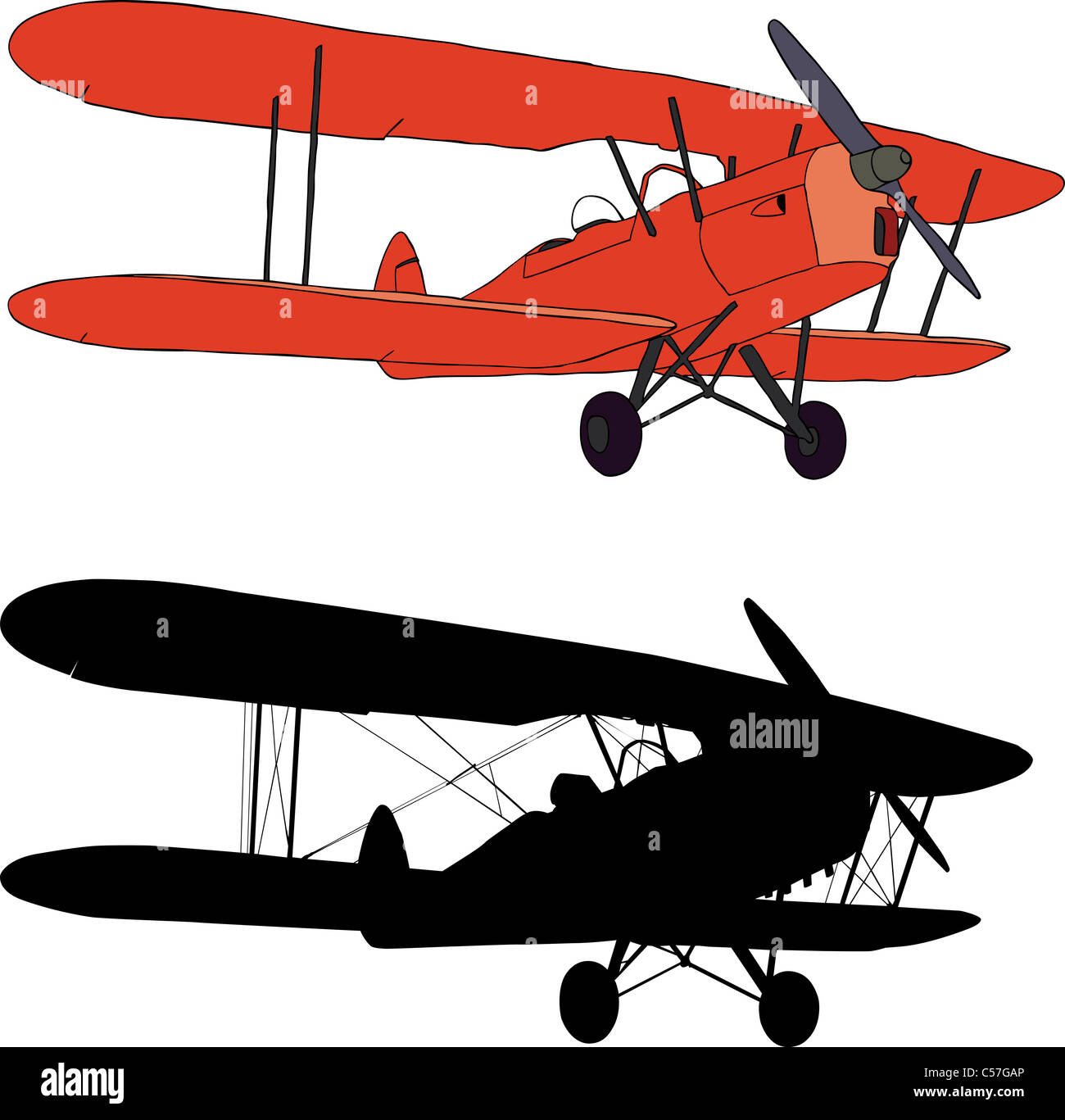 Vector Illustration And Silhouette Of An Old Biplane