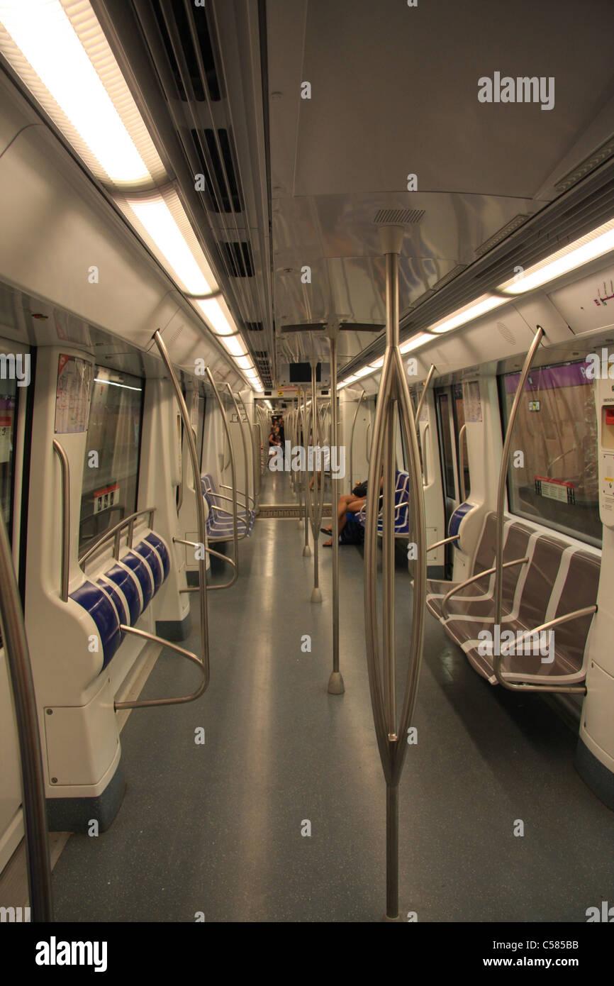 Spain, Europe, Catalonia, Barcelona, subway, underground, car ...