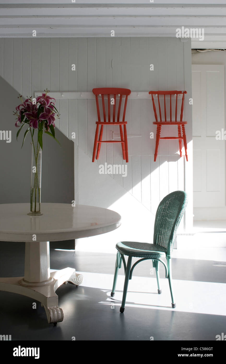 Kitchen With White Painted Pedestal Table Lloyd Loom Chair And - Shaker dining room chairs