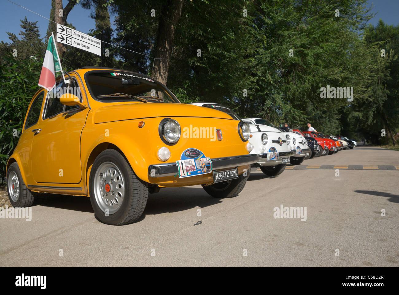 Rome Italy Row Of Fiat Italian Classic Cars Outdoors Stock