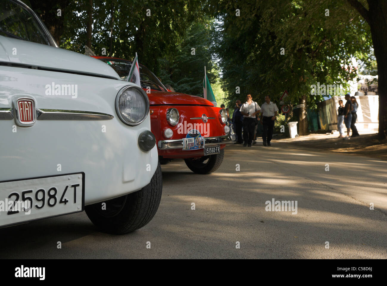 Rome Italy Row Of Fiat Italian Classic Cars Outdoors Stock