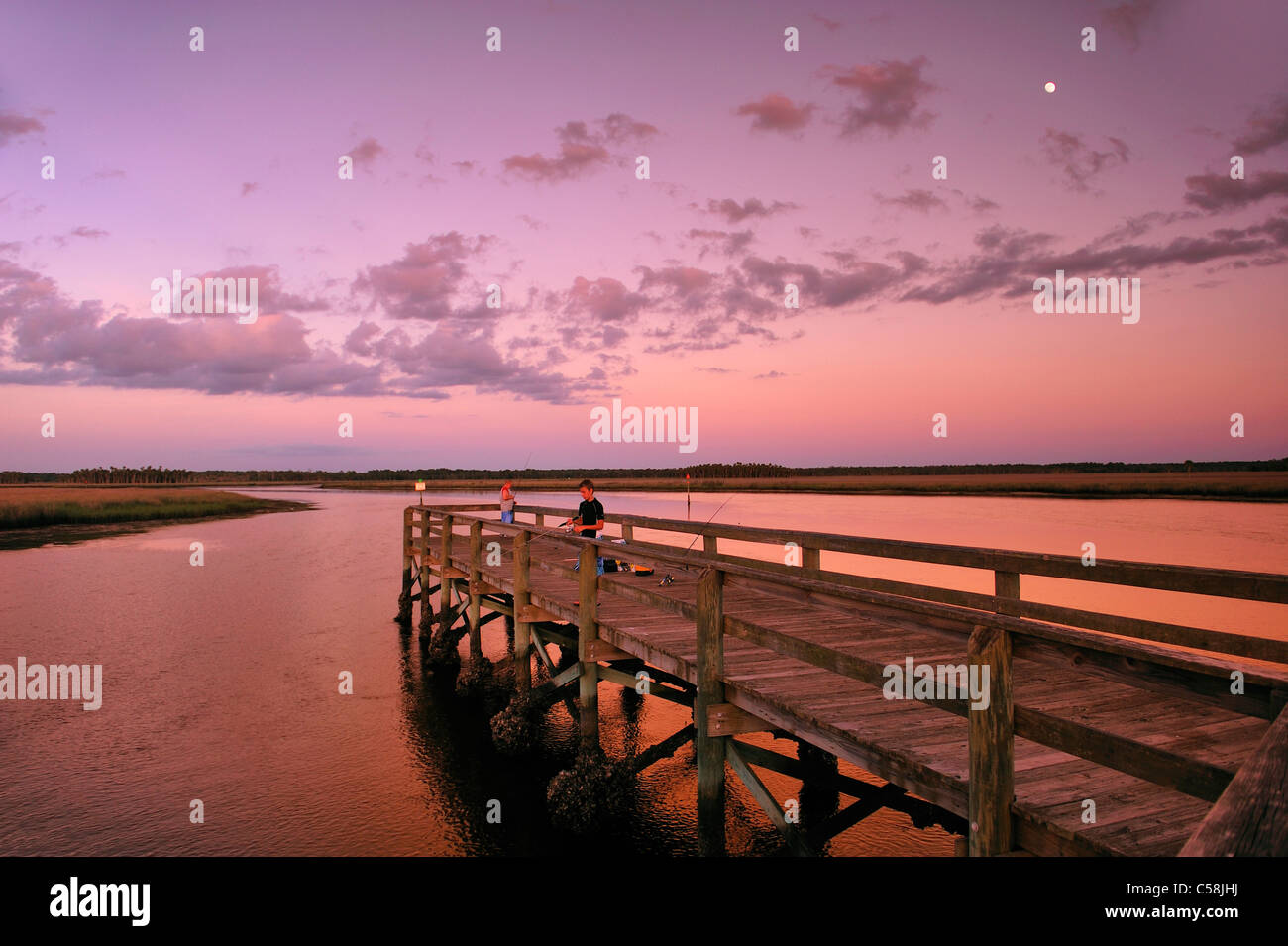 People Fishing Pier Bayport Park Dusk Pine Island Near Spring Hill Florida USA United States America Sunset