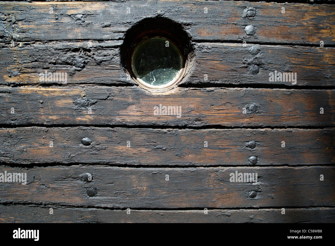 Hull Boarding Of An Old Wooden Steam Ship Boards Treated