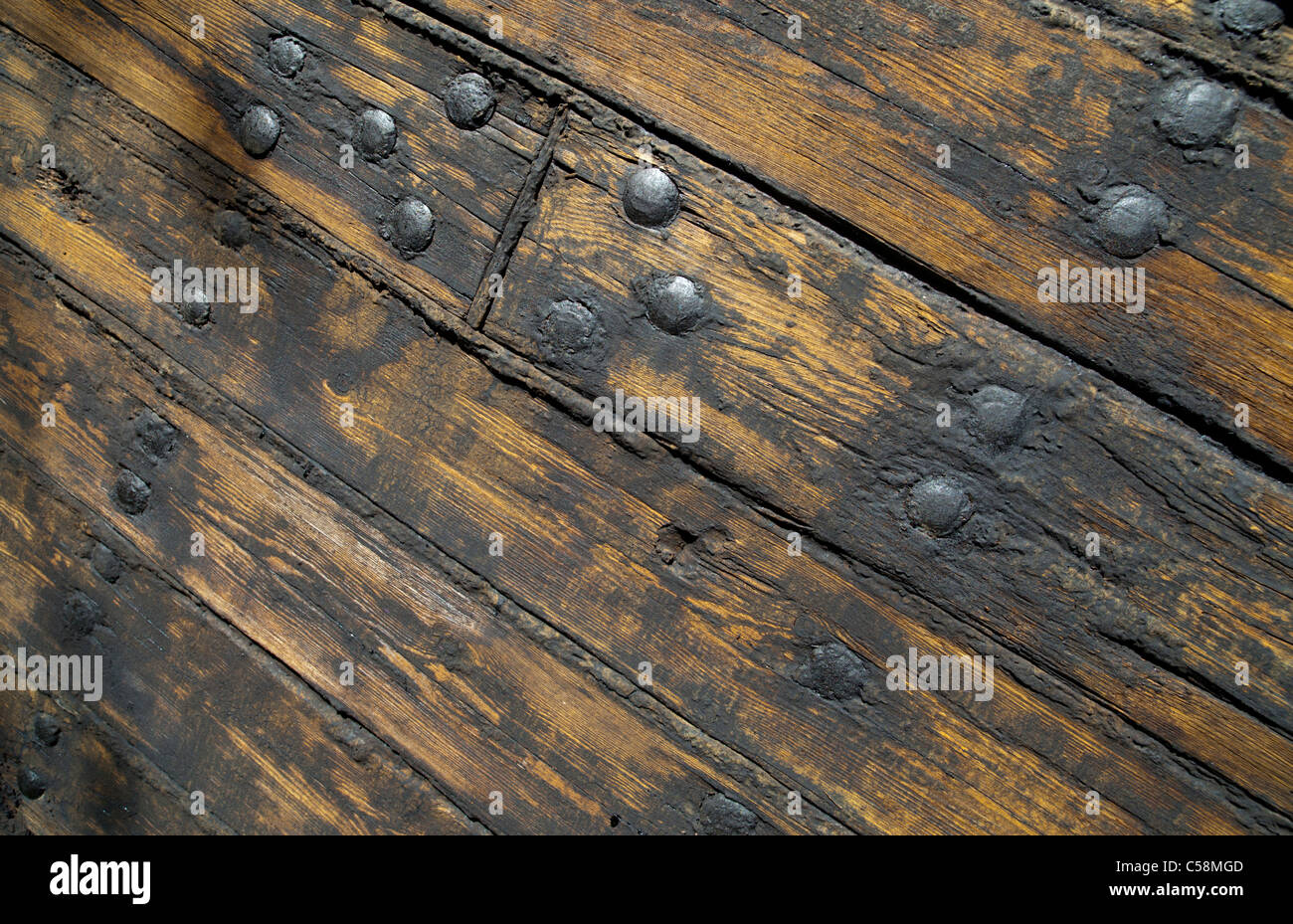 Hull Boarding Of An Old Wooden Steam Ship Boards Are