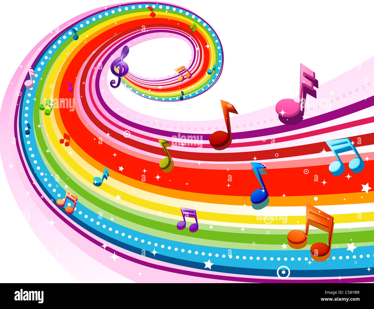 Rainbow Notes On Light Background Stock: Rainbow-Colored Rainbow Design With Musical Notes Against