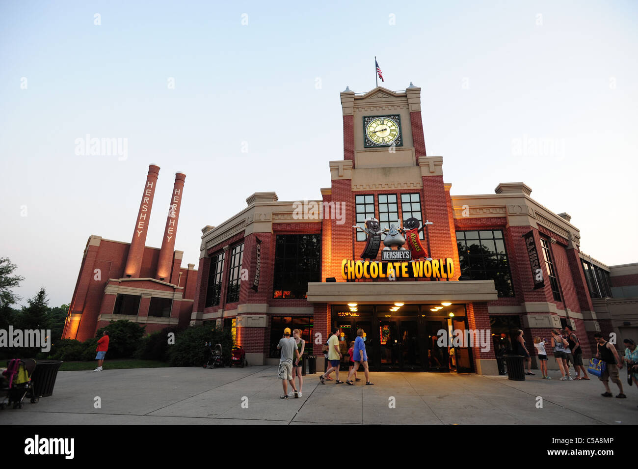 USA Pennsylvania PA Hersheys Chocolate World at dusk Stock Photo ...