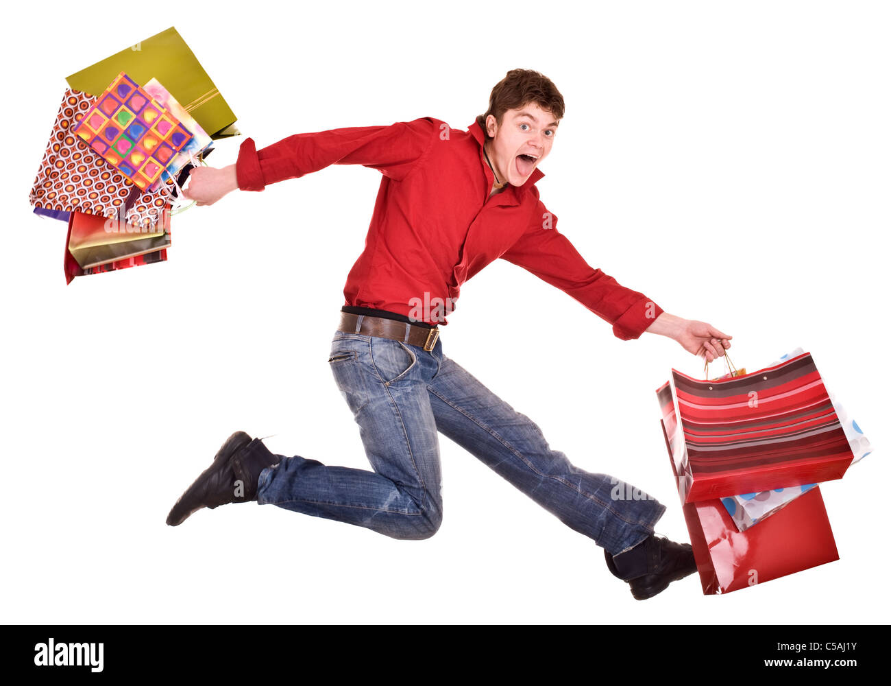 Happy man with shopping bag Stock Photo, Royalty Free Image ...