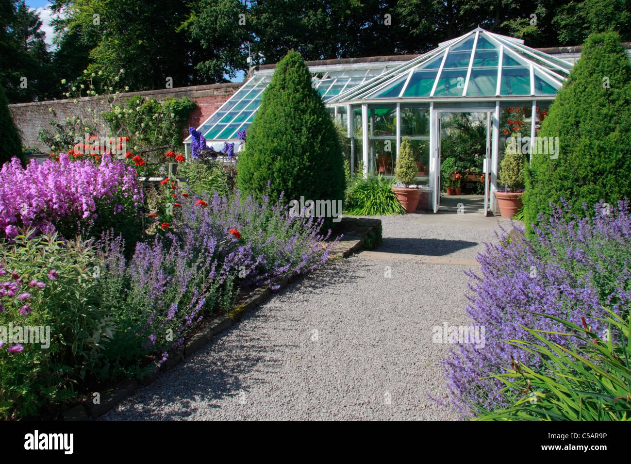 Colourful Borders And Greenhouse At Threave Gardens