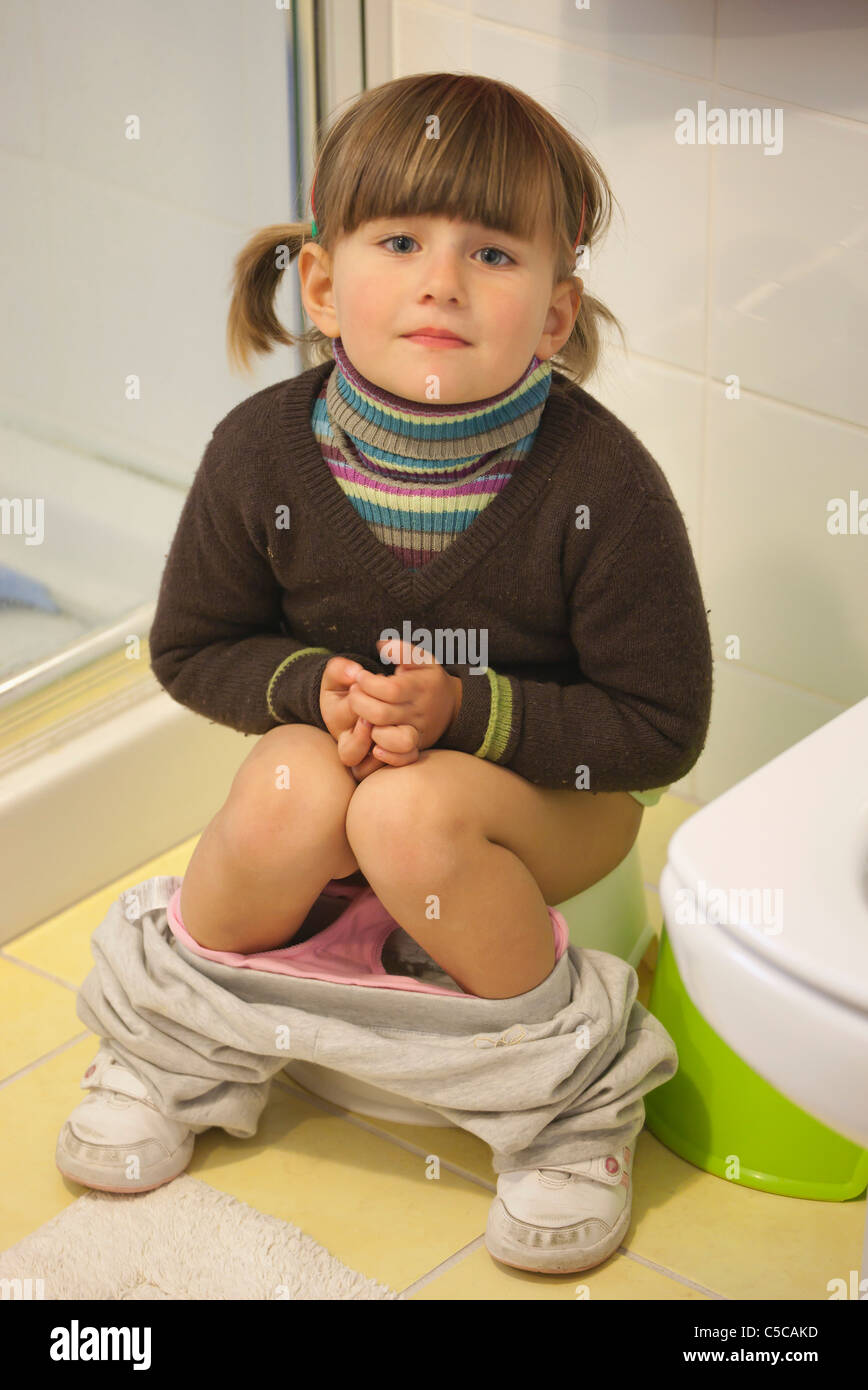 Baby on toilet stock image. Image of daughter, hygiene
