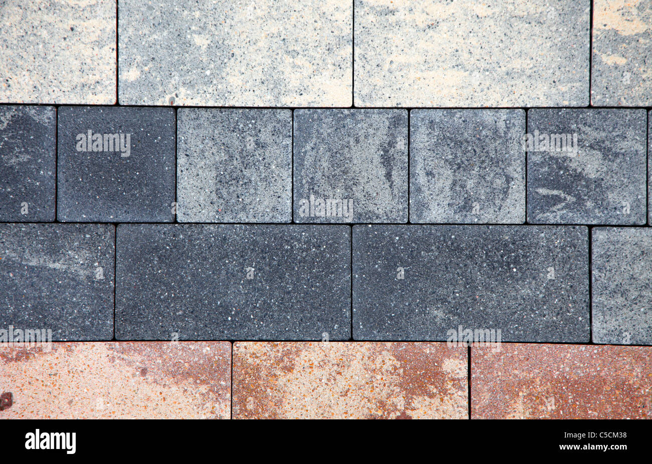 Stony soil, different designs, type of stones. Floor covering ...