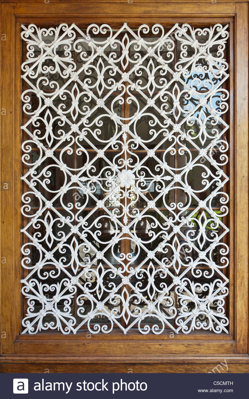 Decorative Security Grilles For Windows Wrought Iron Window Bars Stock Photos Wrought Iron Window Bars