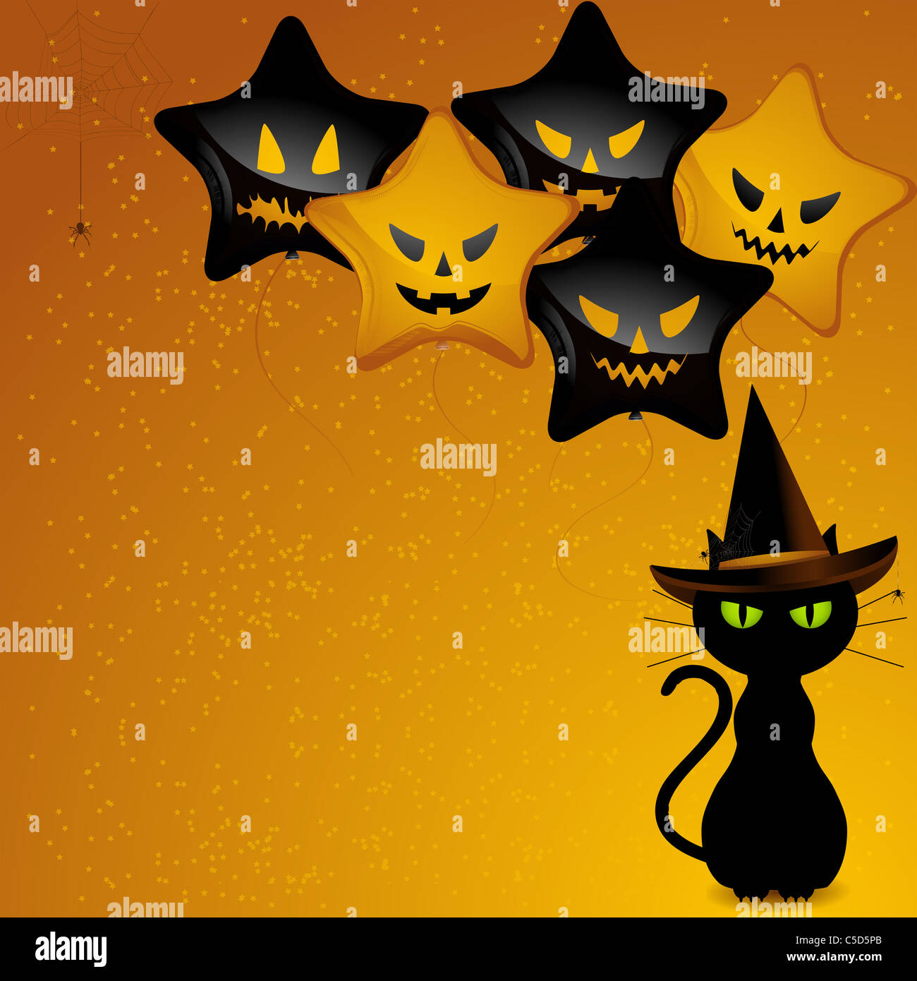 black cat wearing witches hat sat in front of orange and black