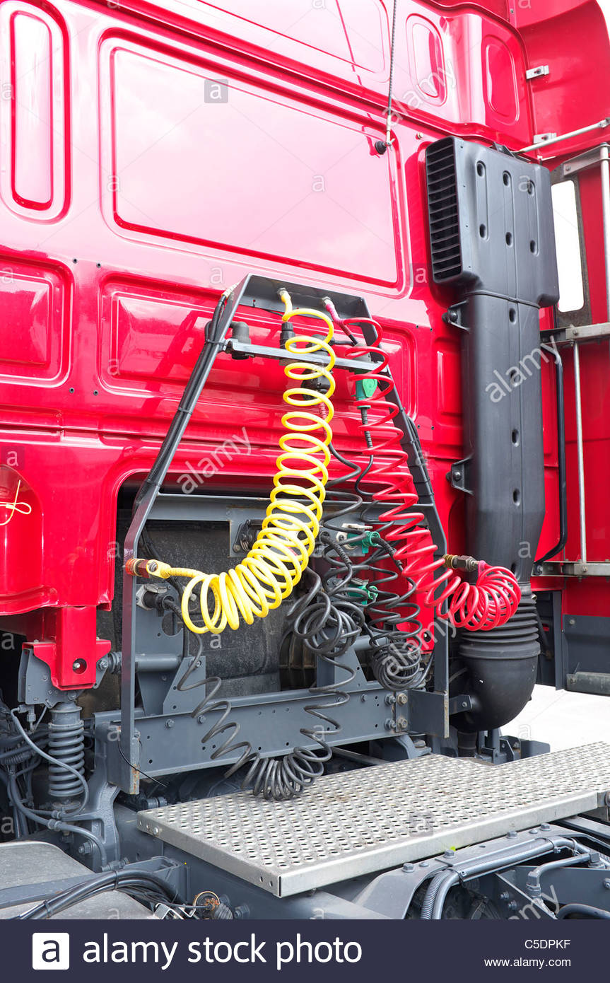 Tractor Air Lines : The rear of a tractor unit lorry cab showing