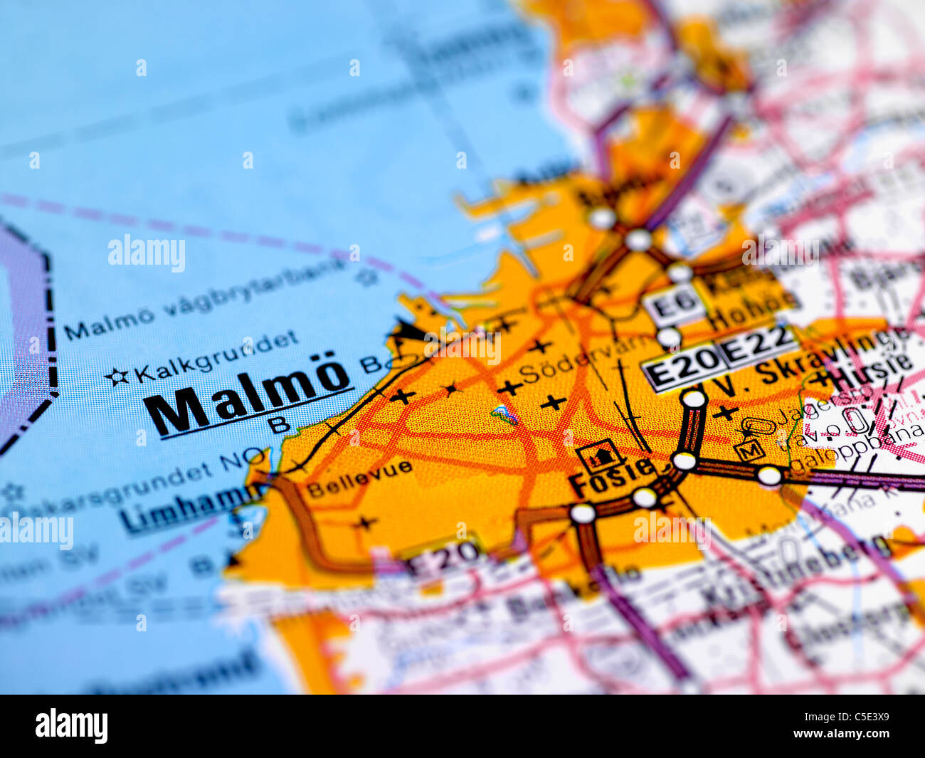Closeup of a blurred map with focus on Malmo Stock Photo Royalty