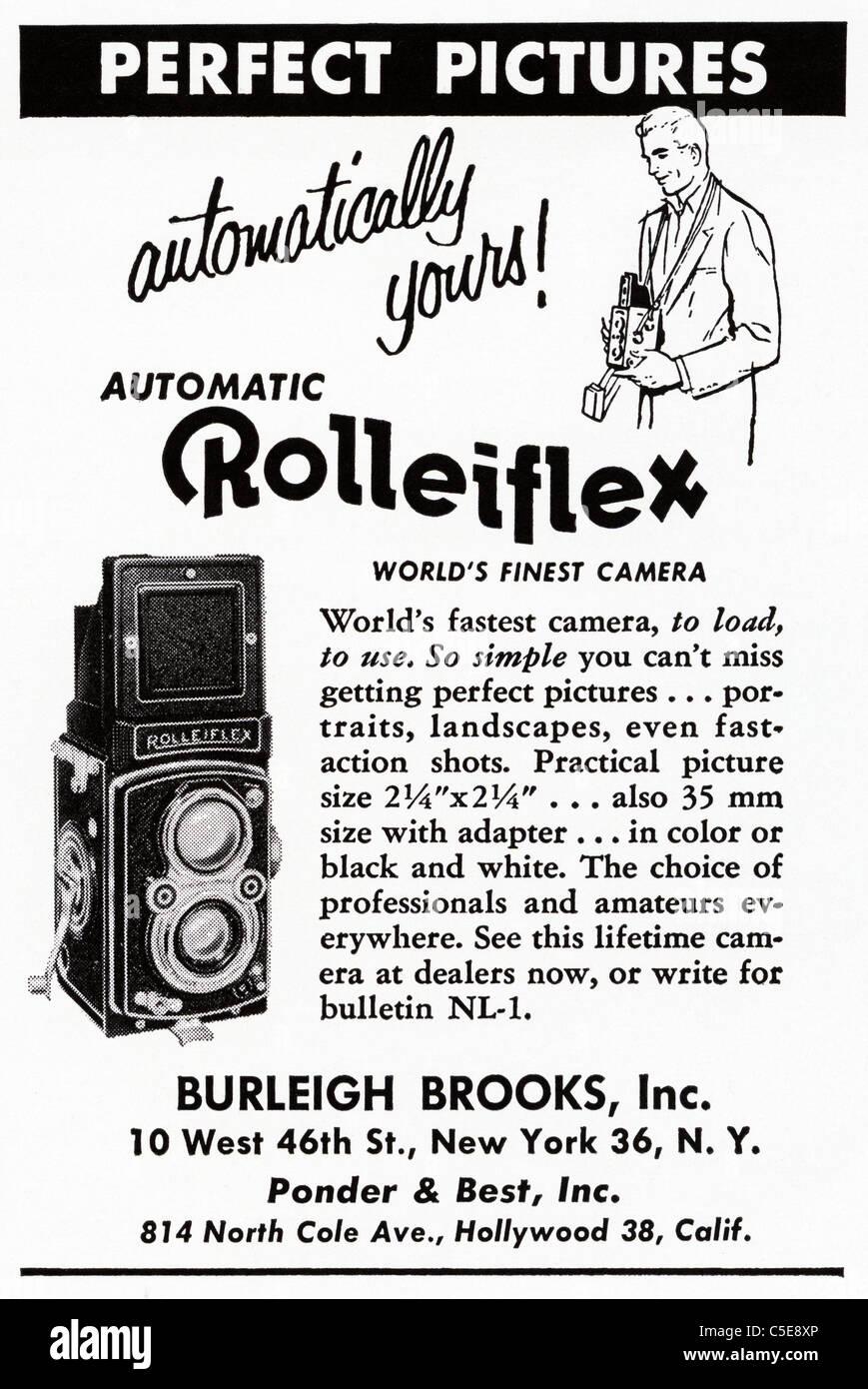 Original 1950s advert in American magazine advertising ROLLEIFLEX ...