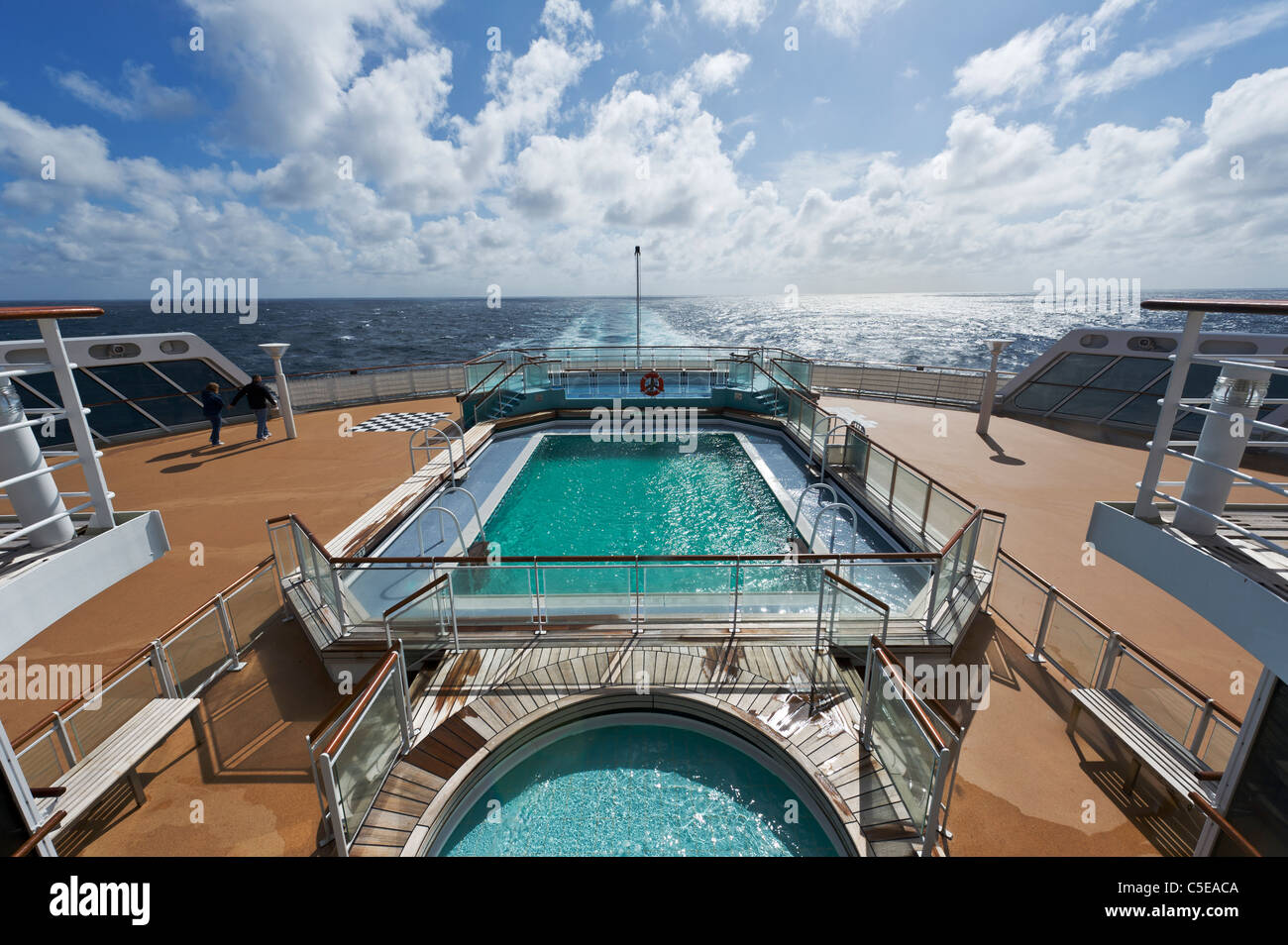 swimming pool on stern of cunard stern of queen mary 2 cruise liner stock photo royalty free