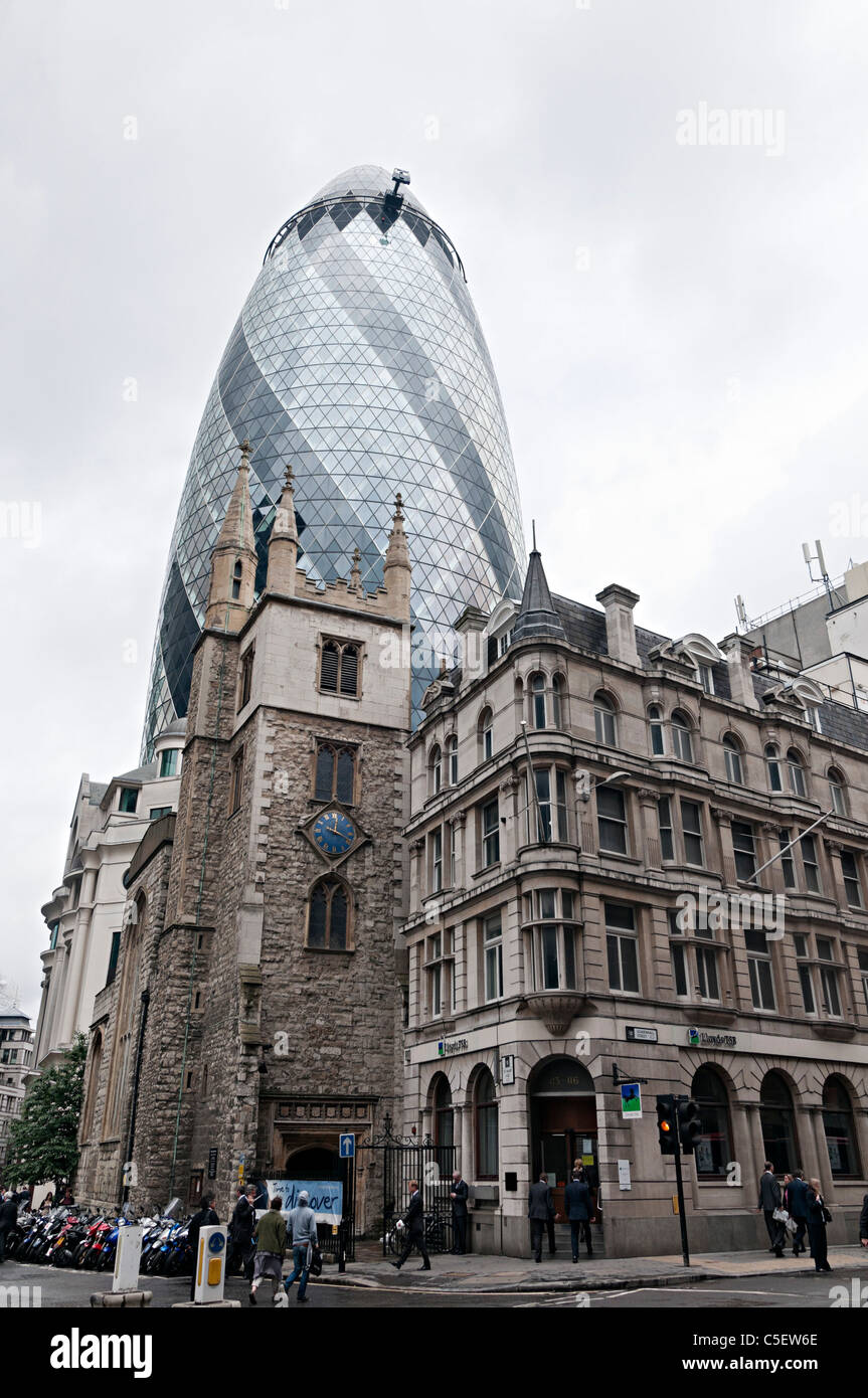 norman foster office. The Gherkin Office Building Designed By Sir Norman Foster In City Of London With St Andrew Undershaft Church Front