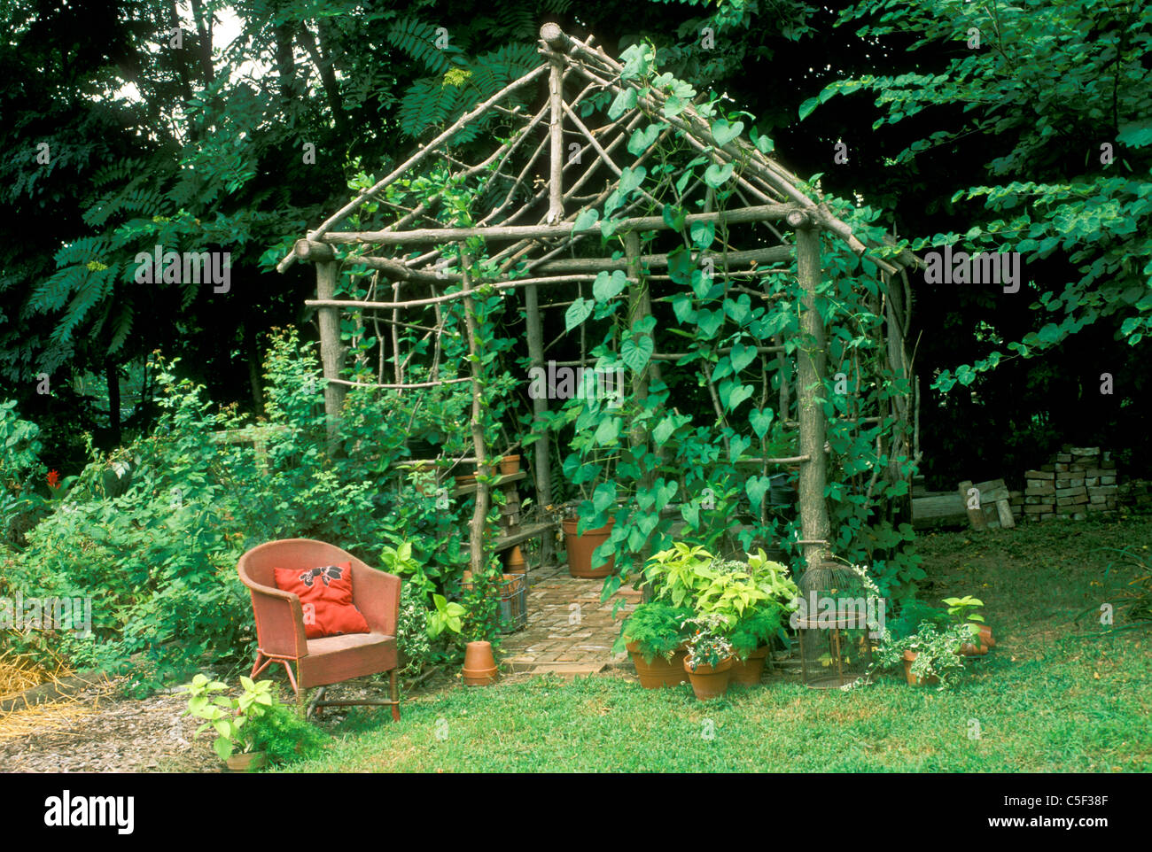A Unique Garden Work Room And Shed Made Of Cut Locust Branches Covered With  Growing Vines   Rustic And Pleasing, Midwest USA