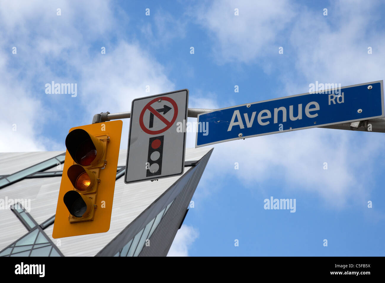 traffic light signals and no right turn on red signs in avenue road downtown toronto ontario & red [traffic light] and