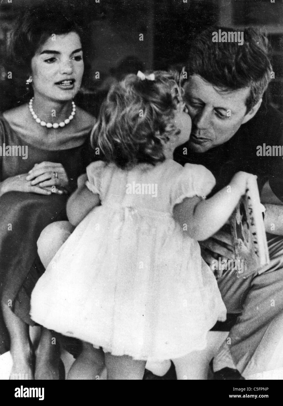 President John F Kennedy With Wife Jackie And Daughter Caroline About 1960   Stock Image