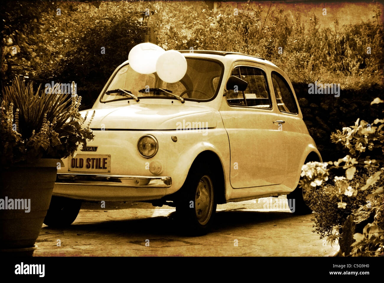 Old style italian car from 50\'s, fifty\'s car. the first mini car ...