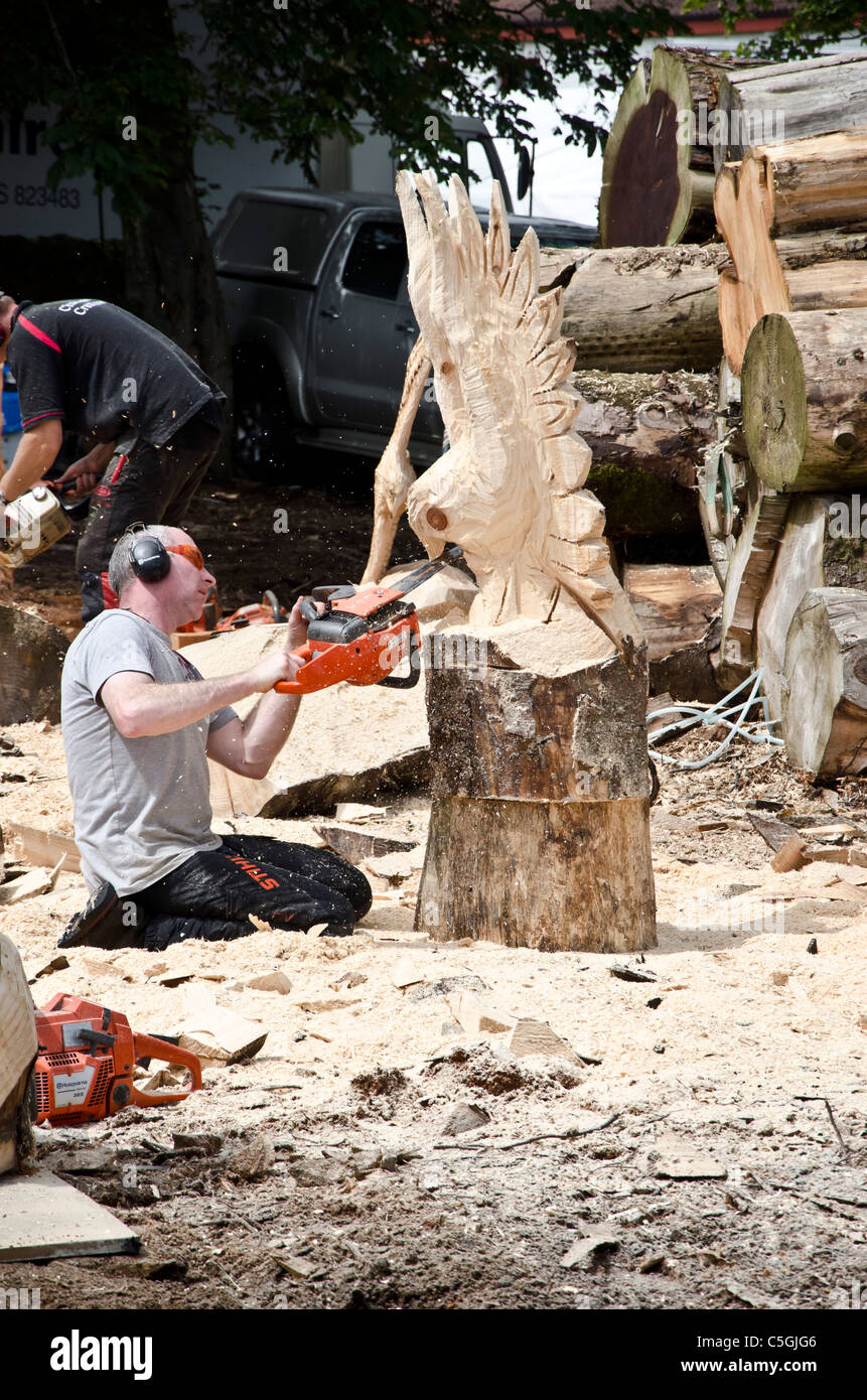 Chainsaw carver at work the royal highland show near