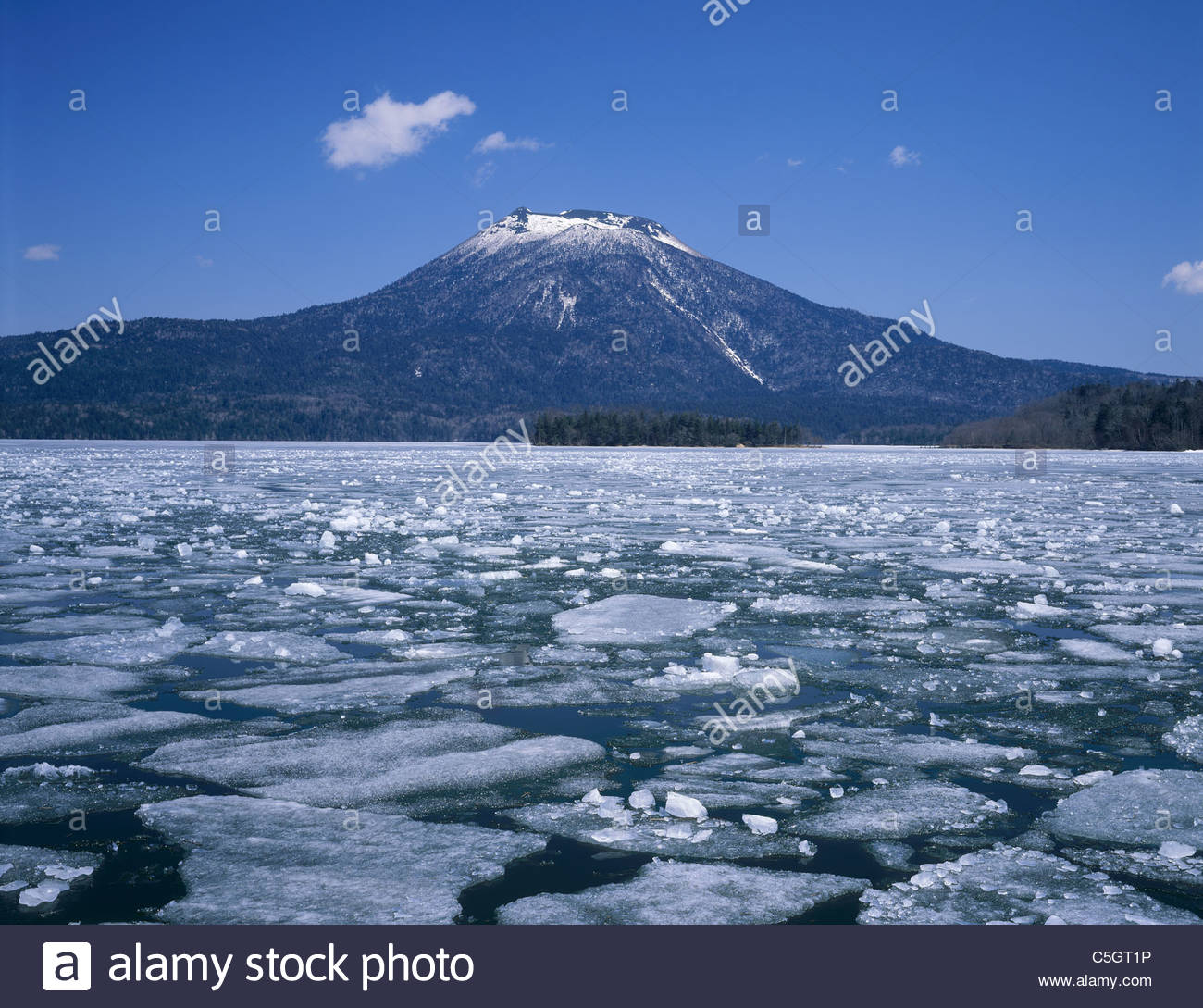 Kushiro Japan  city photos : Akan ko Lake, Mt. Oakan dake, Thawing, Kushiro, Hokkaido, Japan Stock ...