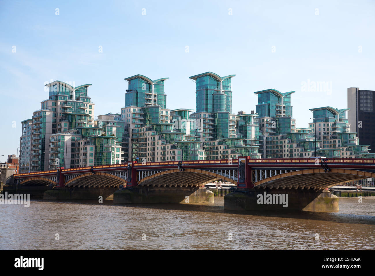Modern Apartment buildings on the Thames river in London Stock ...
