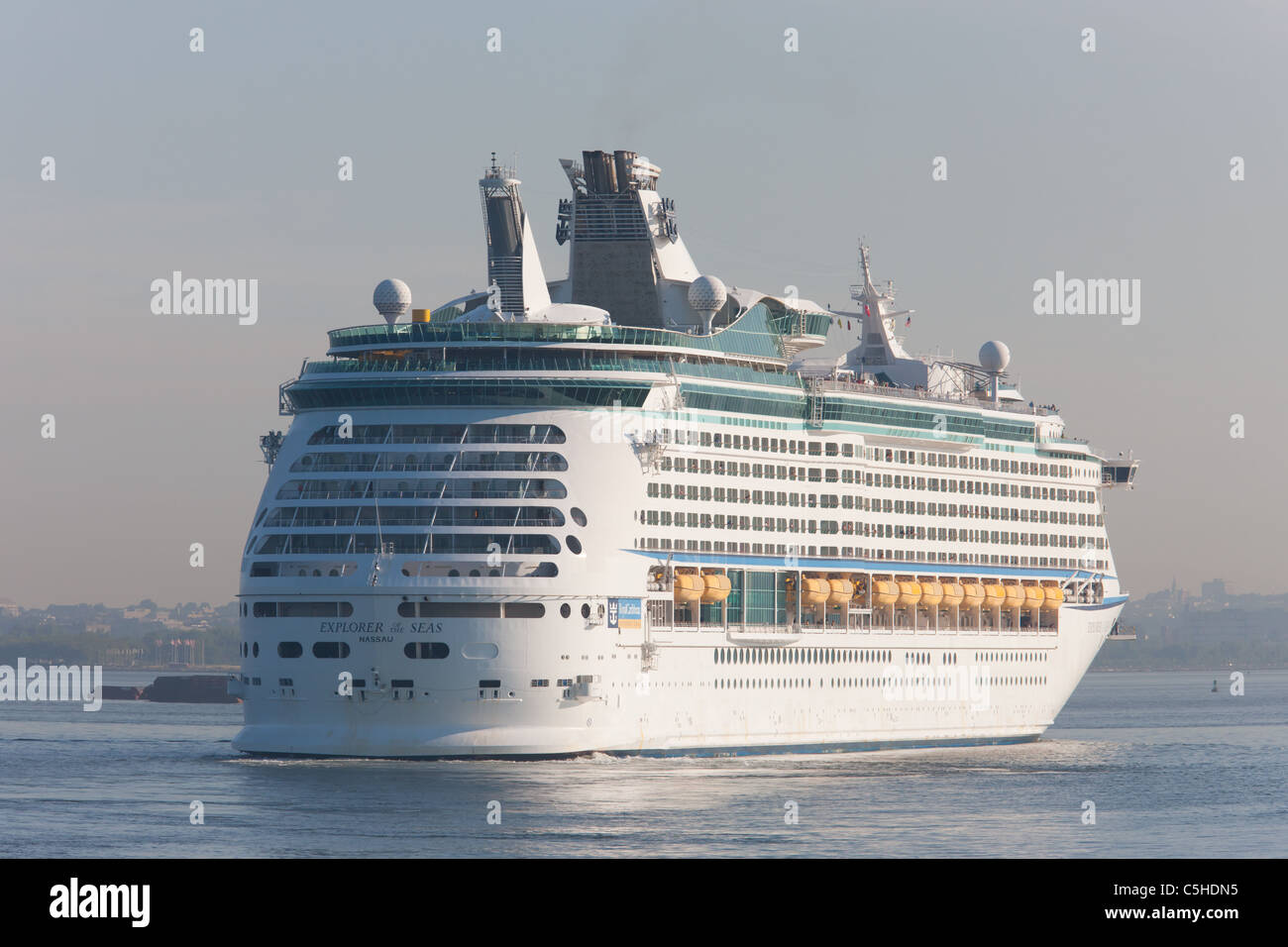 royal caribbean cruise ship explorer of the seas in new york harbor stock photo royalty free