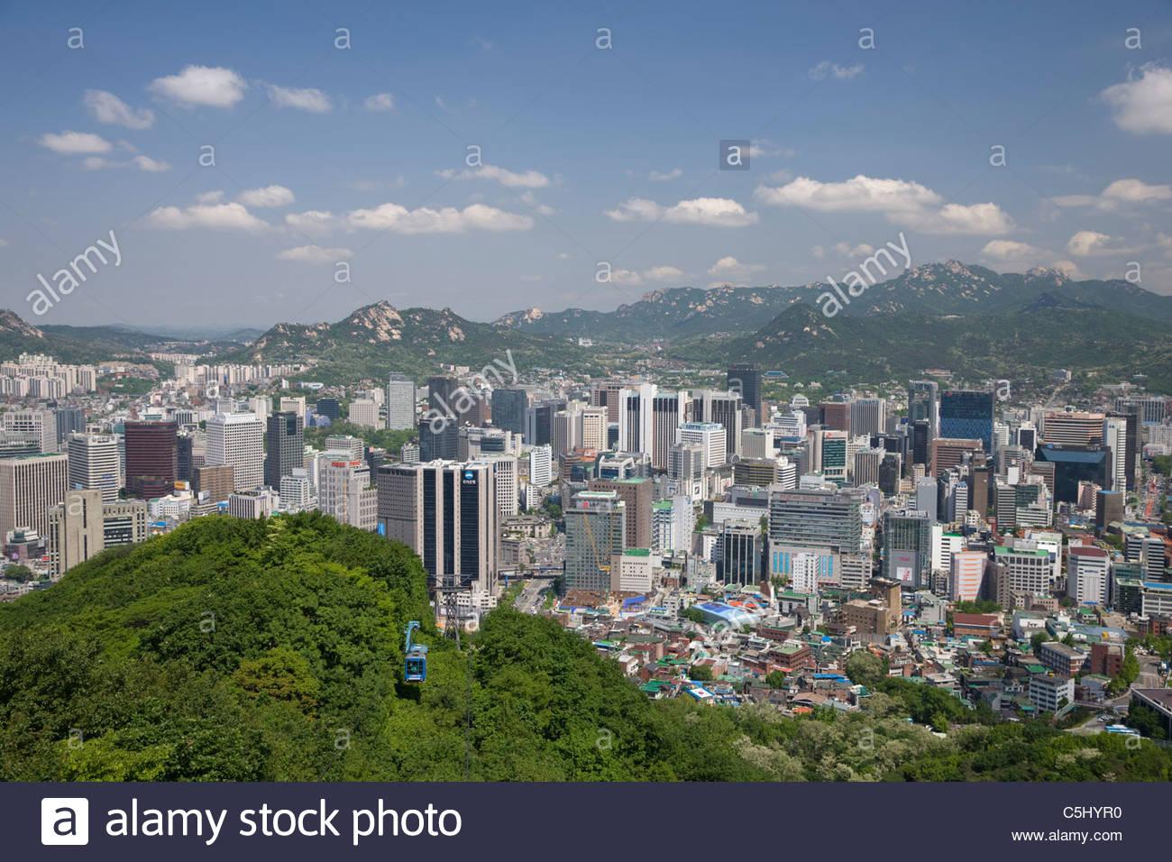 Namsan cable car - Namsan Cable Car View From Namsan Vehicle Transportation Seoul South Korea Asia