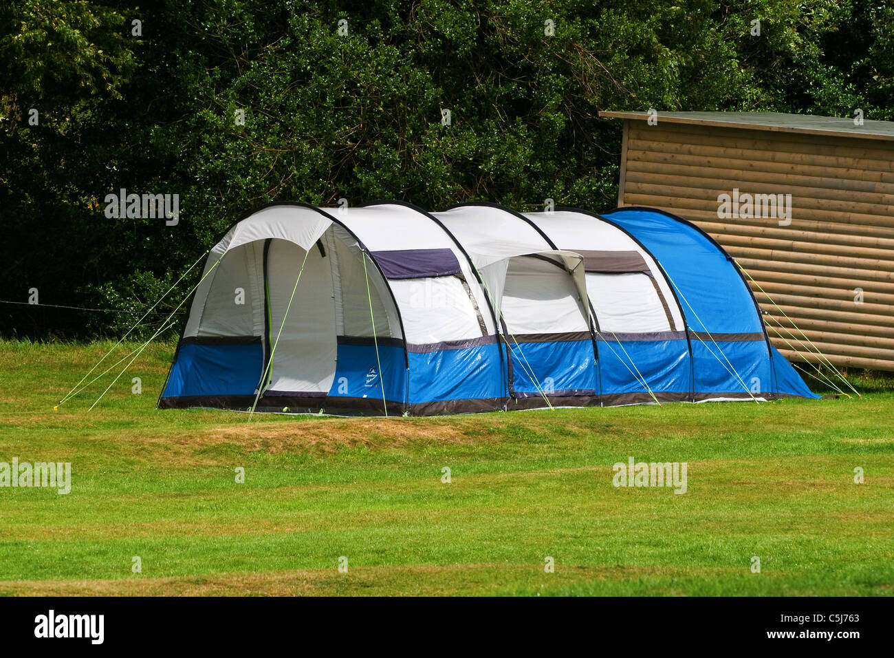 C&ing holiday large wet tent after a downpour of rain & Camping holiday large wet tent after a downpour of rain Stock ...