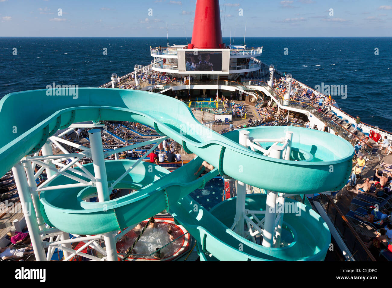 Cruise Passengers On Deck And Water Slide On Carnivals Triumph - Cruise ship slide