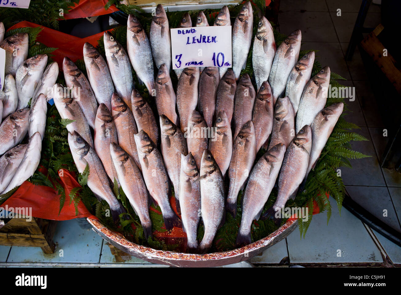 fish market stall in istanbul turkey with fresh sea bass