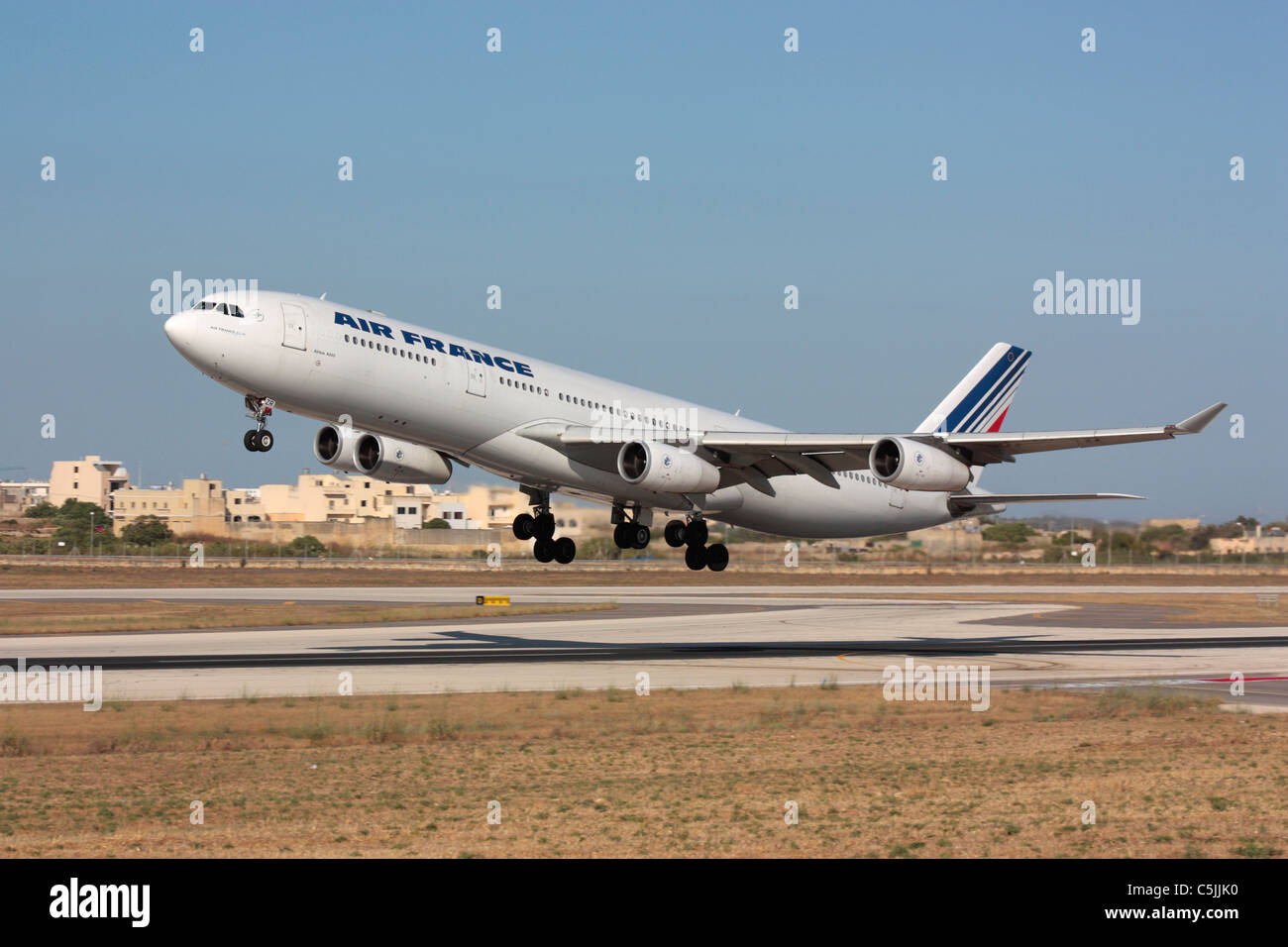 air france airbus a340 300 taking off from malta stock photo royalty free image 37903796 alamy. Black Bedroom Furniture Sets. Home Design Ideas