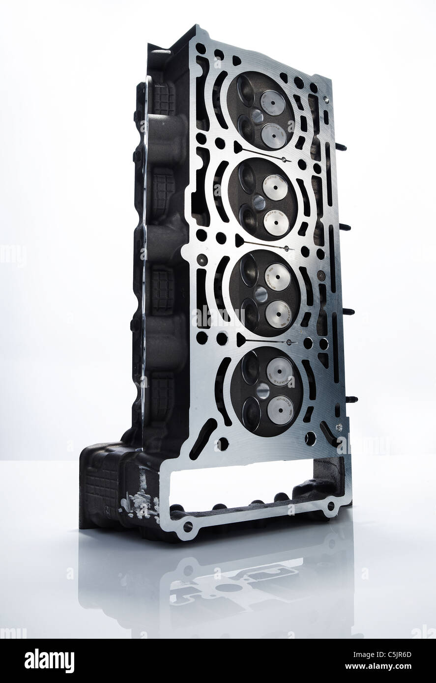 Car Engine Block On White Perspex With Reflection Stock Photo